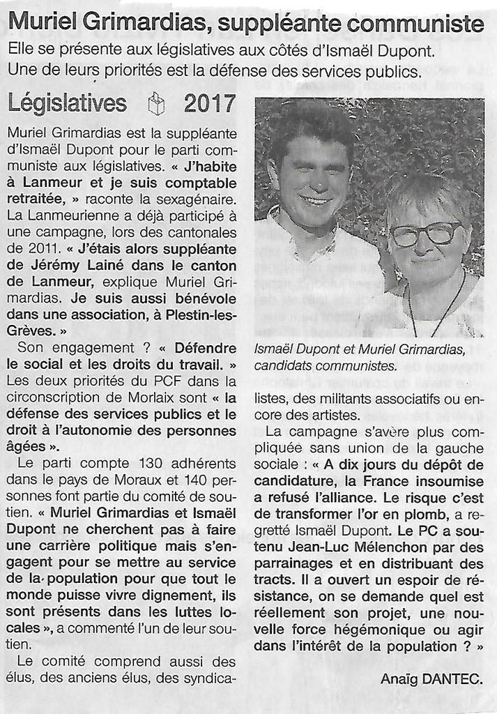 Muriel Grimardias, candidate communiste dans la 4ème circonscription du Finistère (Anaïg Dantec, Ouest-France, 24 mai 2017)