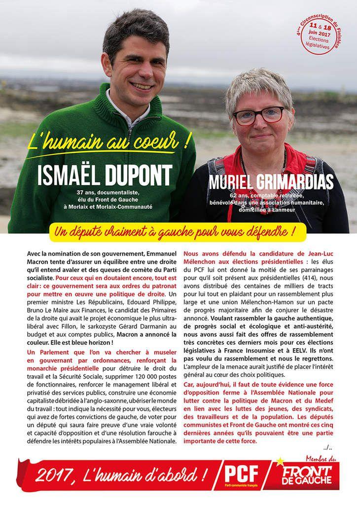 Législatives: réunion publique à Plouigneau (espace Coatanlem) le mardi 30 mai à 18h30 avec Ismaël Dupont et Muriel Grimardias, candidats PCF-Front de gauche &quot&#x3B;L'Humain au coeur&quot&#x3B;