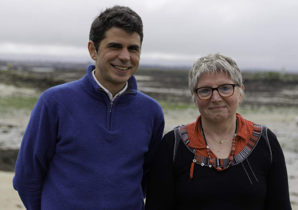 """Ismaël Dupont et Muriel Grimardias, candidats PCF-Front de Gauche, """"L'humain au coeur"""" dans la circonscription de Morlaix (photo Jean-Marc Nayet)"""