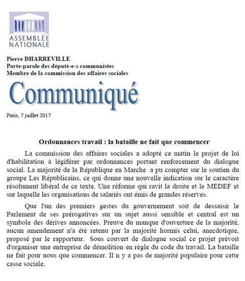 Ordonnances travail: la bataille ne fait que commencer (communiqué de Pierre Dharréville, porte-parole du groupe PCF à l'Assemblée)