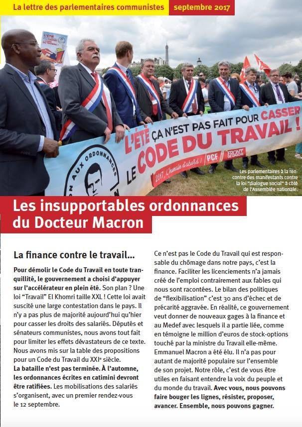 Lettre des parlementaires communistes (septembre 2017): Les insupportables ordonnances du Docteur Macron