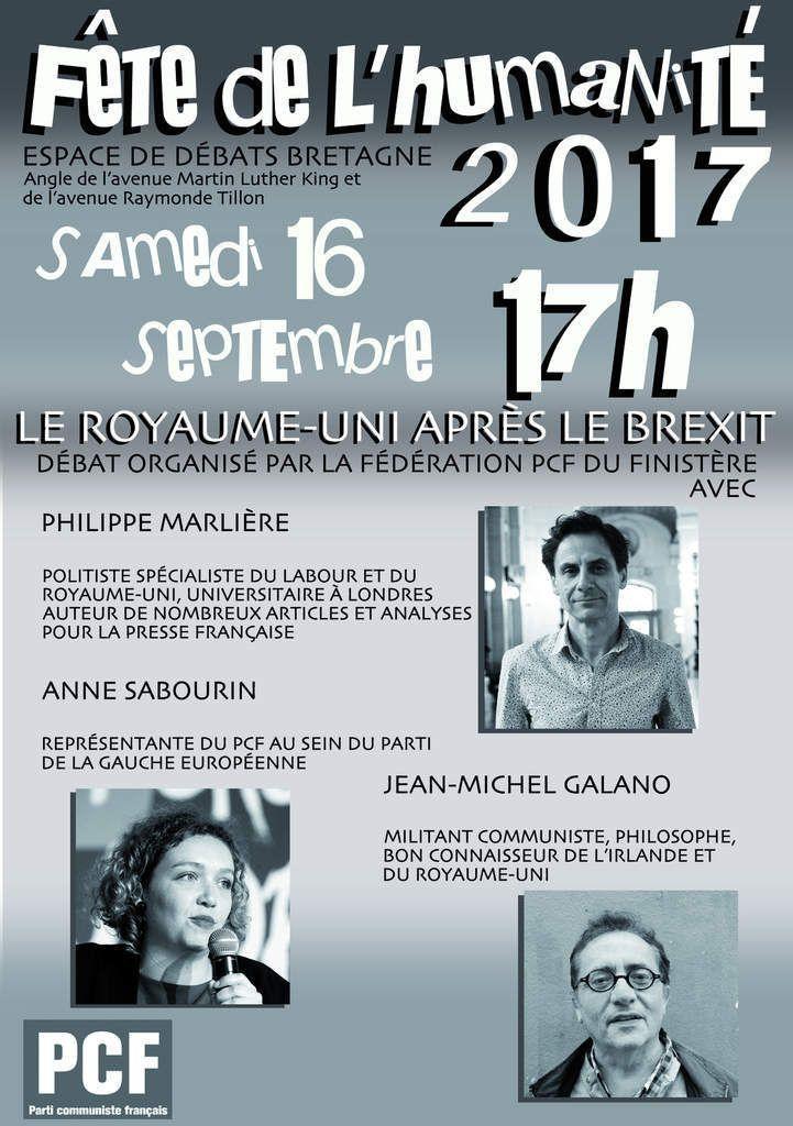 Samedi 16 septembre à l'Huma, espace Bretagne : la fédération du Finistère organisait avec le secteur Europe du PCF un débat stimulant sur la Grande-Bretagne après le Brexit