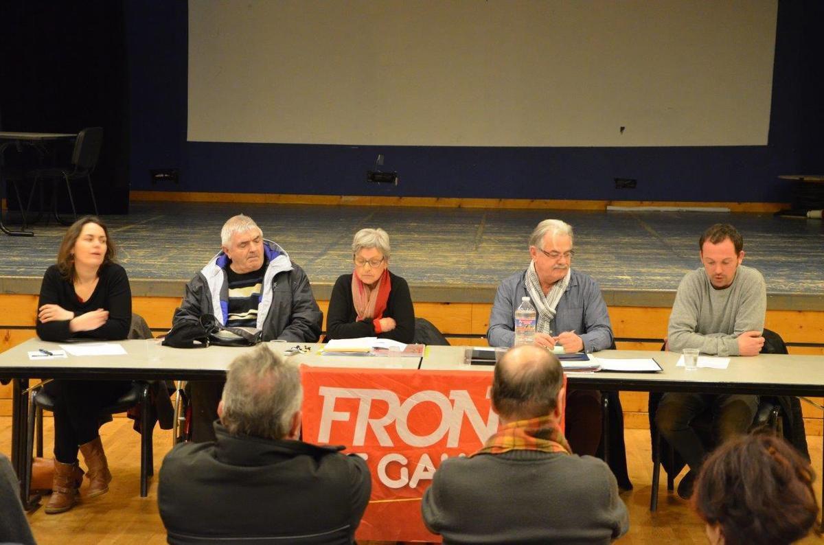 André Bouget présents au côté des candidats du Front de Gauche en réunion publique des Départementales 2015 à Lanmeur