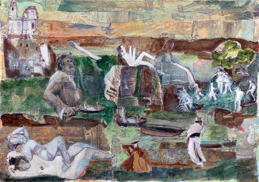 Peinture et collage de Gisèle Dubois