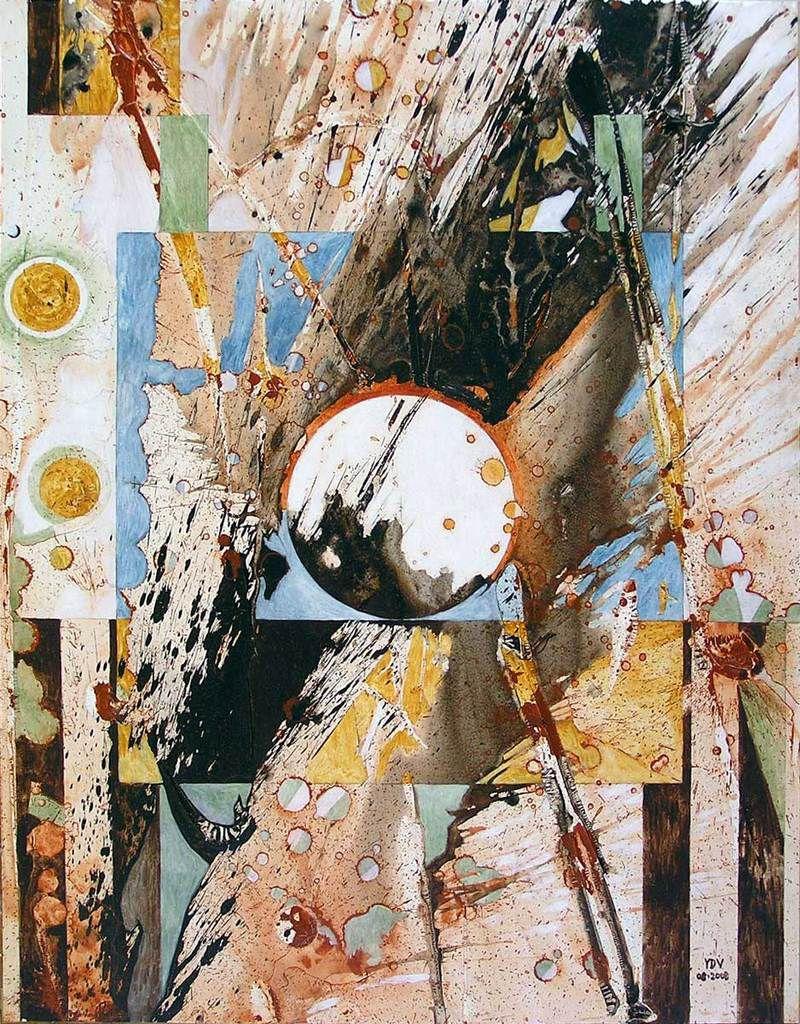 """Yves Desvaux Veeska - Peinture splashe - """"Exubérance contenue"""" - Acrylique sur papier 65 x 50 cm -  n°1656 - Coll. Sylvie Foussier"""
