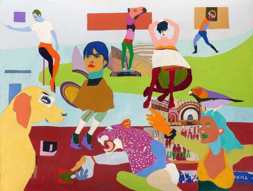 Peinture et collage d'Isabelle Bisson