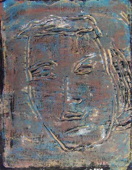 Jacqueline Putatti 2014 - Idée de peinture 184 - Impression d'un visage - Acrylique (monotype) sur papier 50 x 65cm