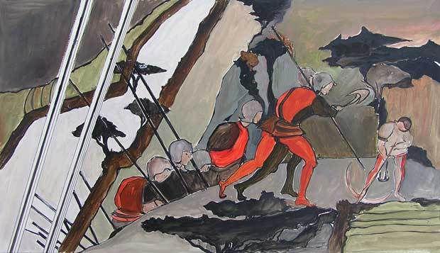 Jacqueline Putatti 2010 - Idée de peinture 62 - Reconstitution d'une bataille - Acrylique sur papier 50 x 65cm