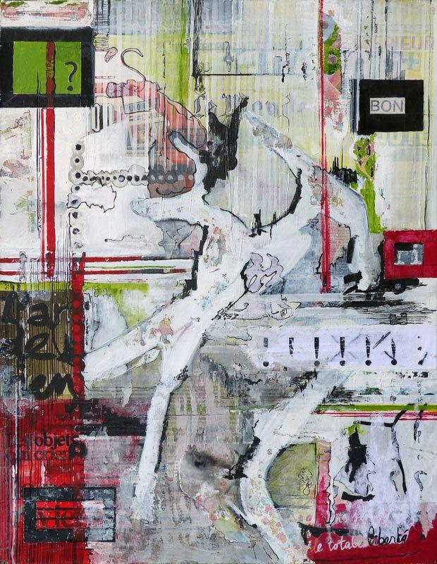 Peinture et collage d'Aude Fauché