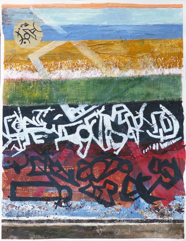 Peinture et collage de Mireille Vincent