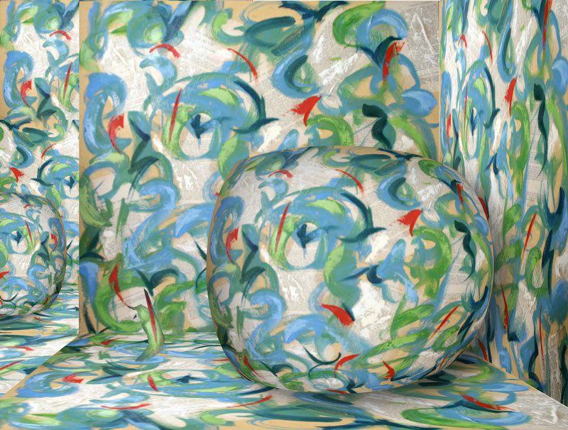 Composition numérique d'après une peinture de Nathalie Marmey