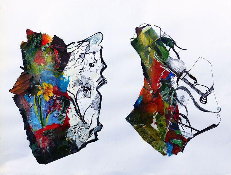 Peinture et collage de Simone Guignard