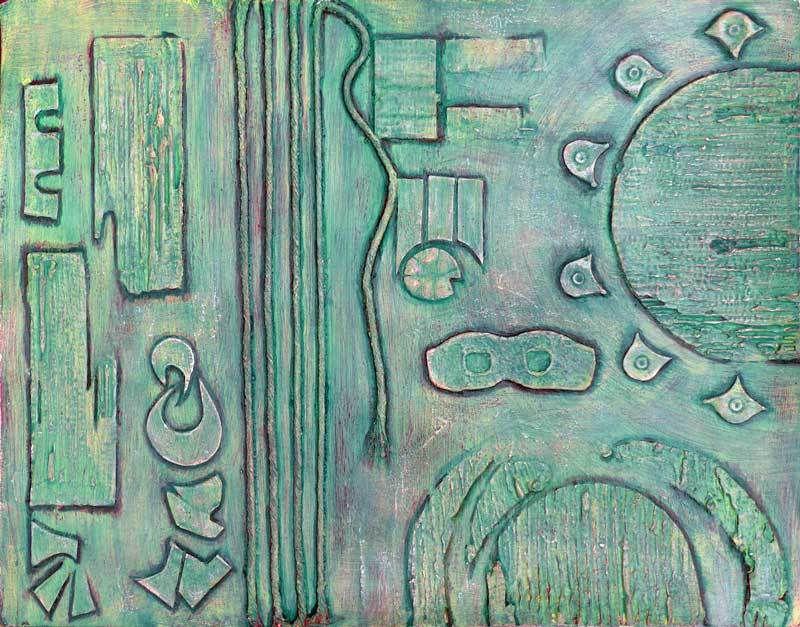 Peinture collage et patine de Marithé Henriot