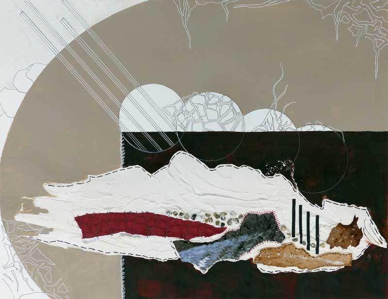 Peinture et collage de Jocelyne Hassel