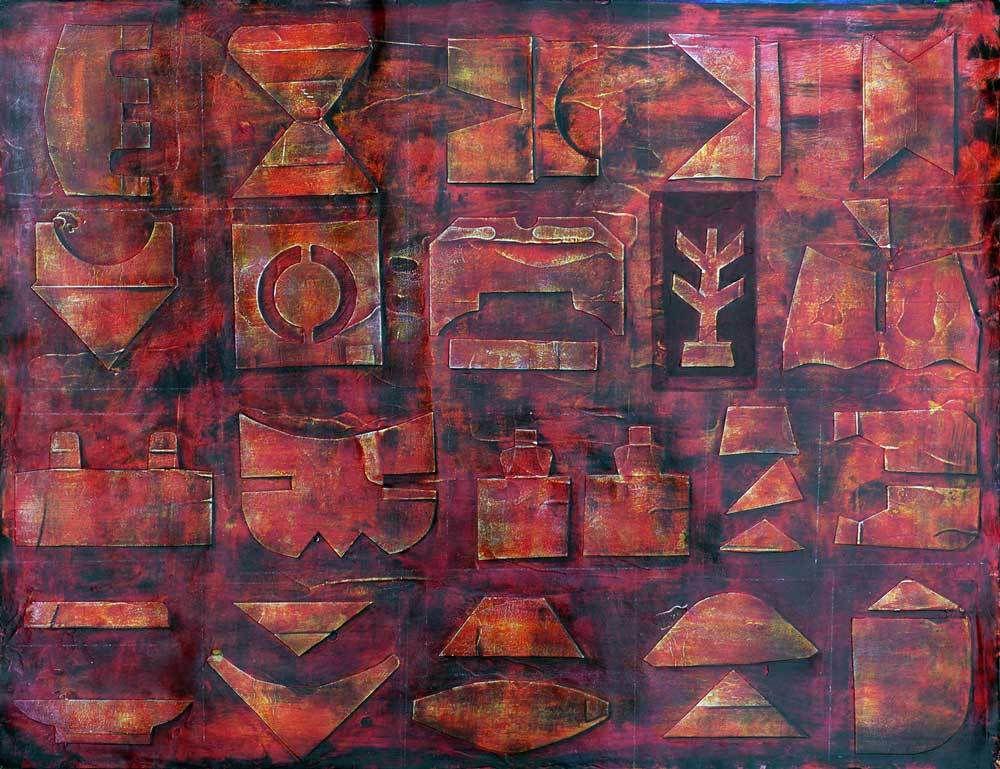Collage relief et couleurs patinées - Françoise Fourcault