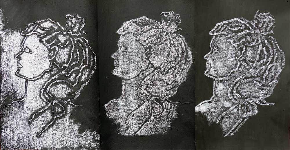 Monotypes d'Estelle G. (cliquez pour faire défiler)