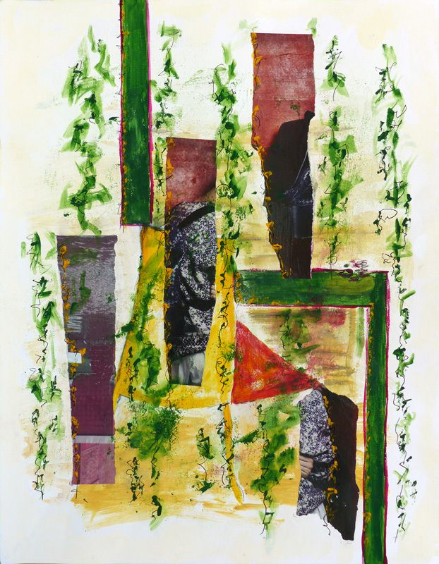 Peinture et collage d'Ariane Bellenger