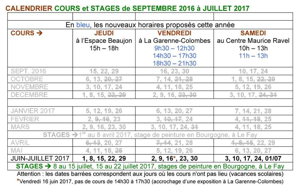 5. Calendrier cours et stages 2017 / 2018