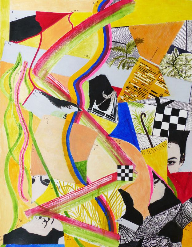 Peinture et collage de Catherine Maisse