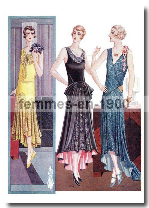Robes du soir : gravure vintage