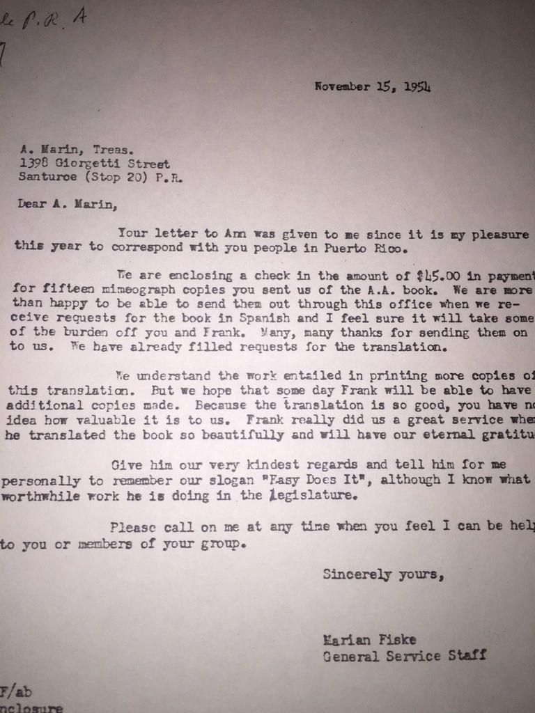 15 novembre 1954 : le BSG NY confirme son payement de 45 dollars pour 15 exemplaires