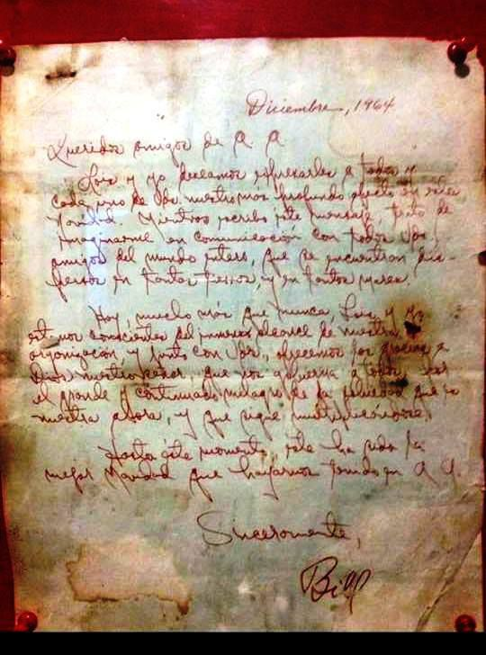 Rarissime : Bill W. écrit en espagnol