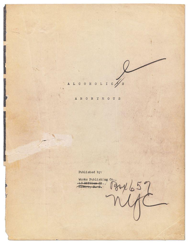 Le manuscript original du BIG BOOK à nouveau en vente