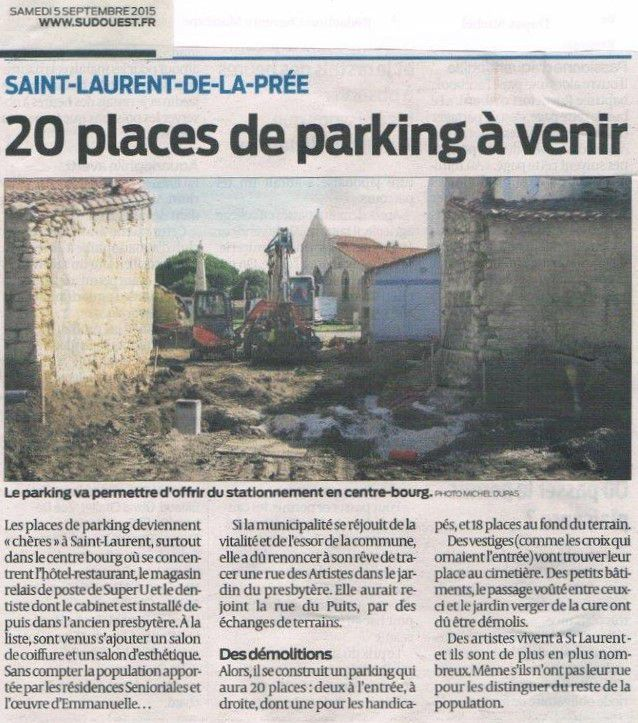 "Article Sud-Ouest : ""20 places de parking à venir"""