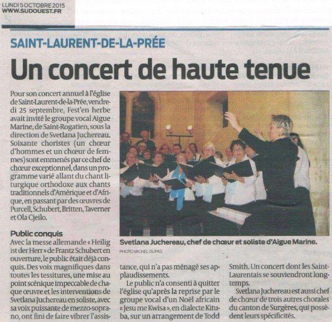 """Article Sud-Ouest : """"Un concert de haute tenue"""""""