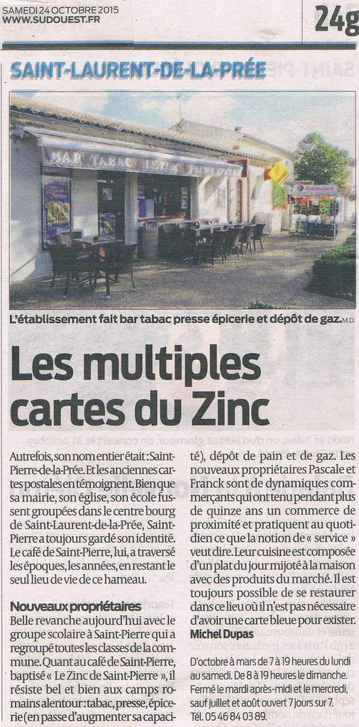 "Article Sud-Ouest : ""Les multiples cartes du Zinc"""