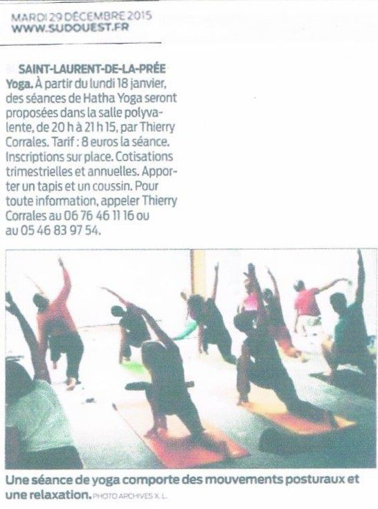 """Article Sud-Ouest : """"Yoga"""""""