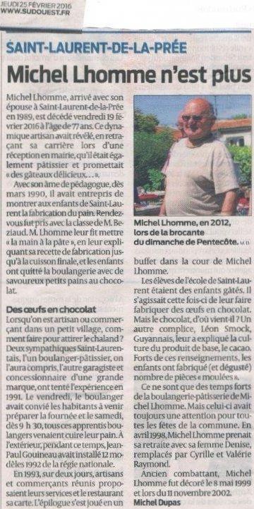 Article Sud-Ouest : &quot&#x3B; Michel Lhomme n'est plus&quot&#x3B;