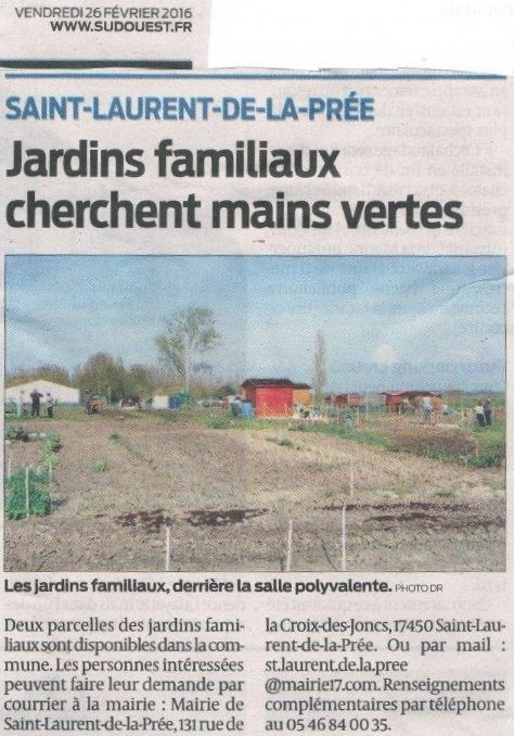 Article Sud-Ouest : &quot&#x3B;Jardins familiaux cherchent mains vertes &quot&#x3B;