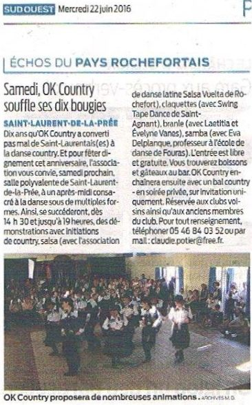 """Article Sud-Ouest : """"Samedi Ok Country souffle ses dix bougies """""""