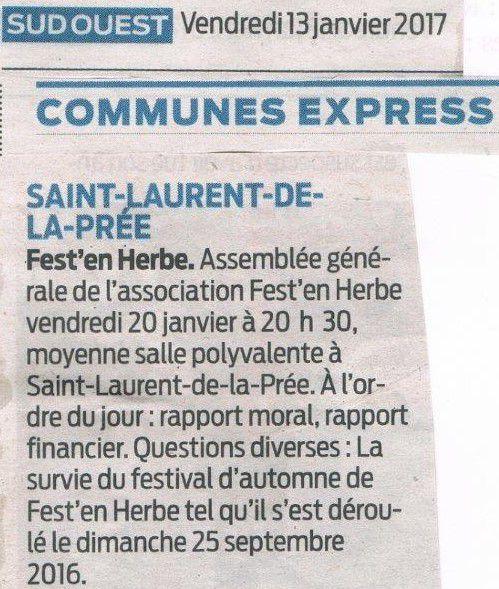 Article Sud-Ouest : Fest' en Herbe, assemblée générale vendredi 20 janvier à 20h30