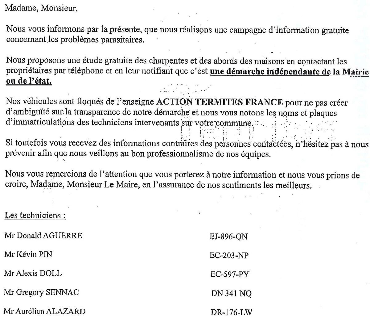 Information Action thermites France