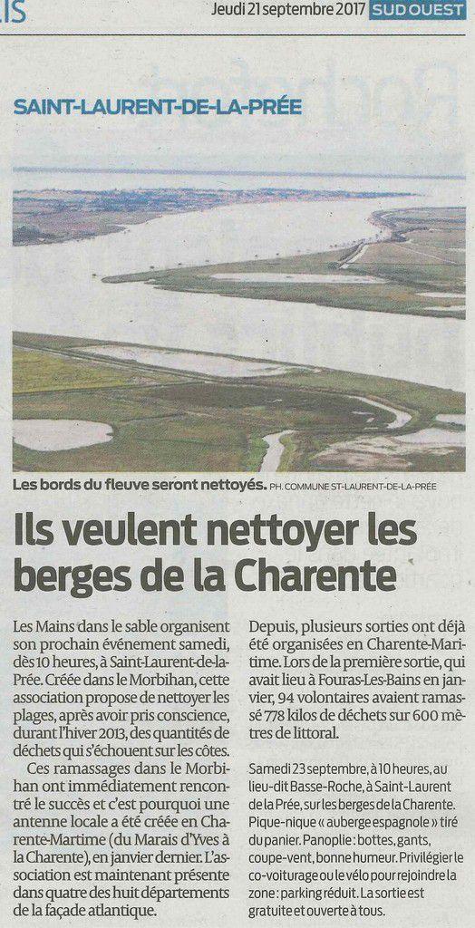 Article Sud Ouest : &quot&#x3B;Ils veulent nettoyer les berges de la Charente&quot&#x3B;