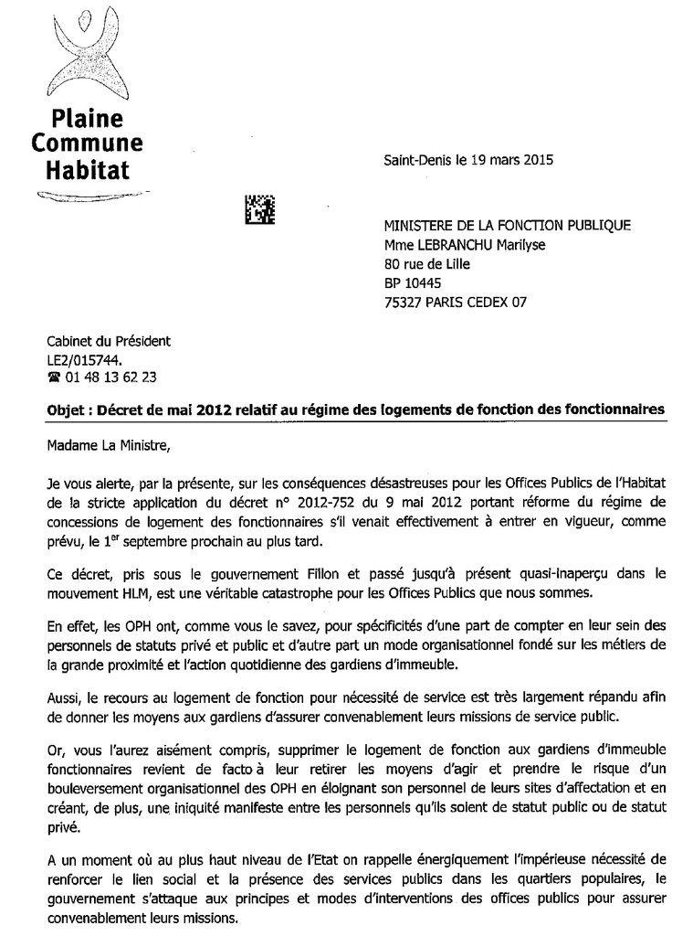 Menace sur les logements de fonctions des gardiens : courriers du Président de Plaine Commune Habitat