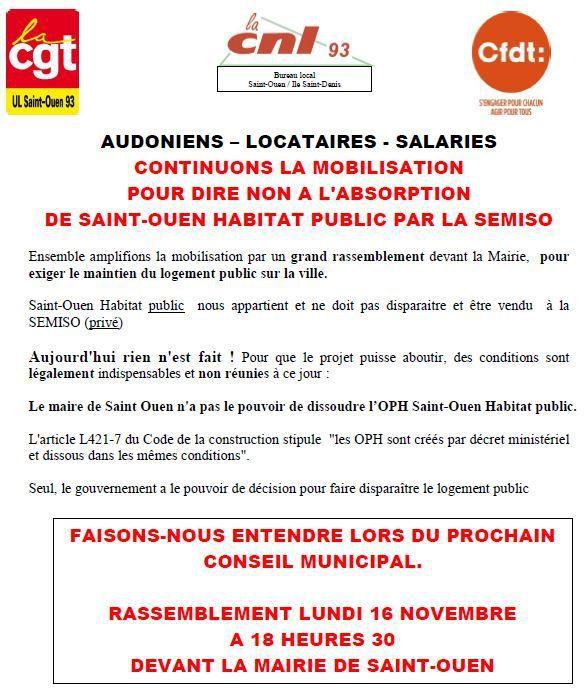 Report du rassemblement prévu le 16 Novembre pour le maintien du logement public à St Ouen