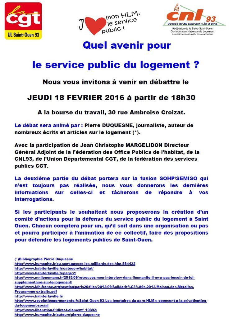 18 Fevrier St Ouen : quel avenir pour le Service Public du logement ?