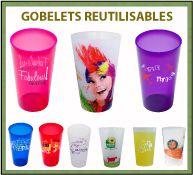 Collection de gobelets et verres réutilisables avec marquage publicitaire