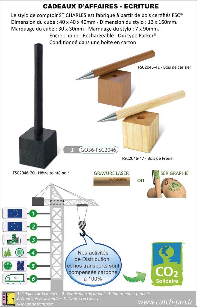Stylo de comptoir ou bureau sur une base GO36-FSC2046