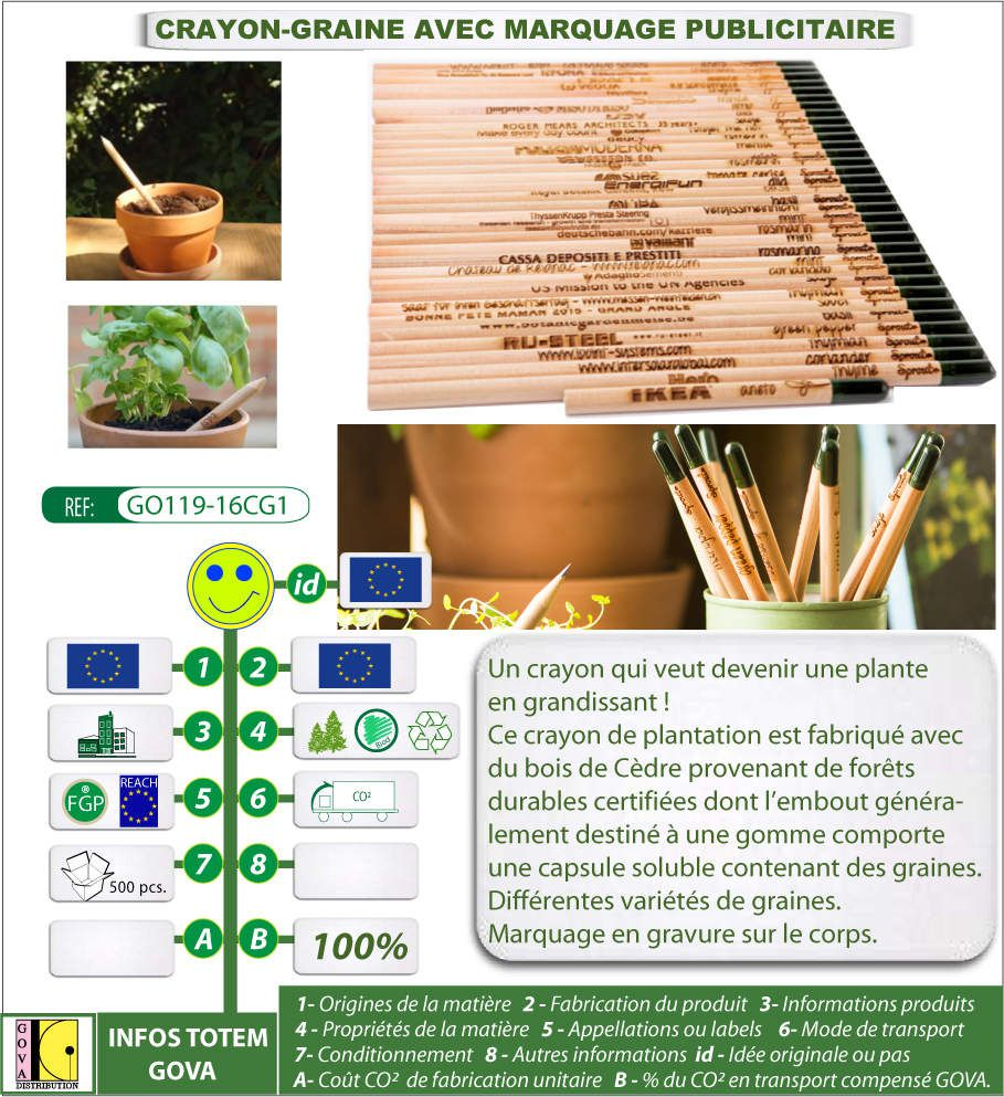 CRAYON AVEC GRAINES A REPLANTER - SPROUT - GO119-16CG1