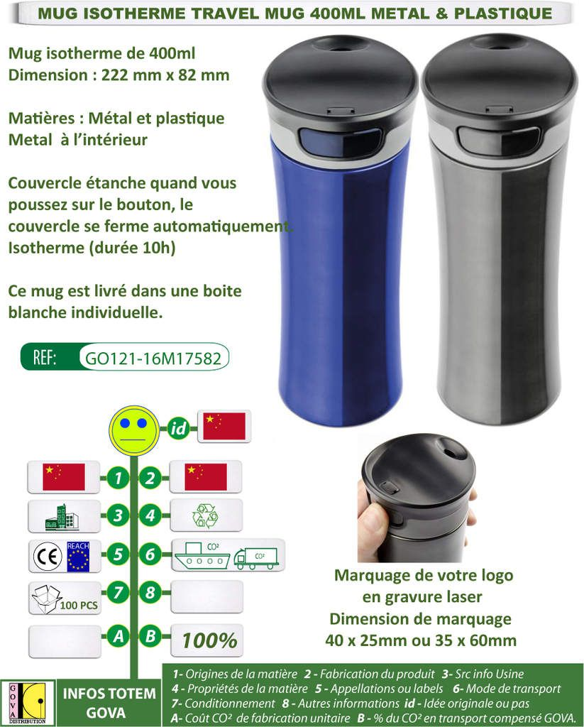 Mug isotherme travel mug 400ml GO121-16M17582