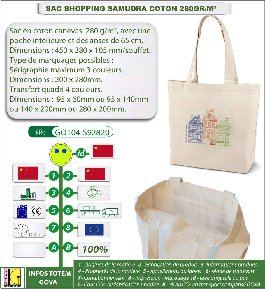 SAC COTON SAMUDRA 280GR 45x38x10CM AVEC IMPRESSION DE VOTRE LOGO - GO104-S92820