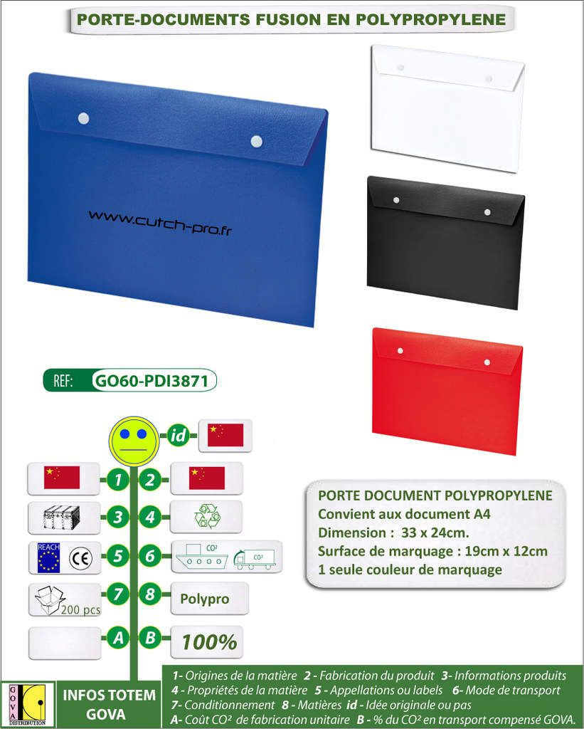 PORTE DOCUMENTS EN POLYPROPYLENE FUSION