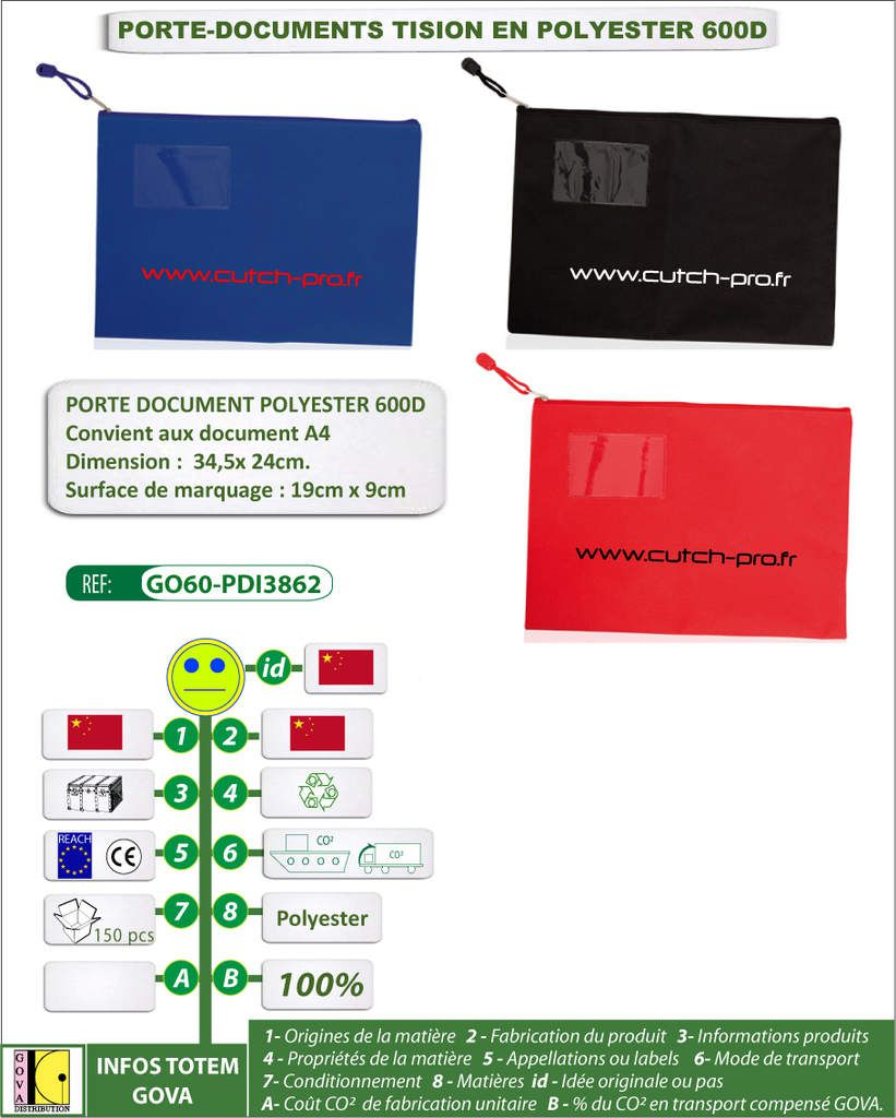 PORTE DOCUMENTS EN POLYESTER TISION