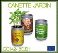 Le jardin dans une canette en pet recycle avec marquage publicitaire