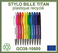 Stylo bille Titan en plastique recycle