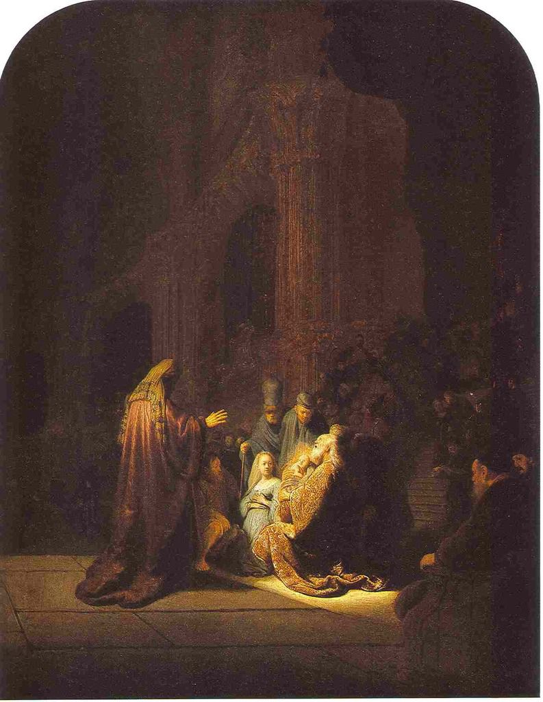 Rembrandt, Simeon with the Christ child in the Temple, 1631..